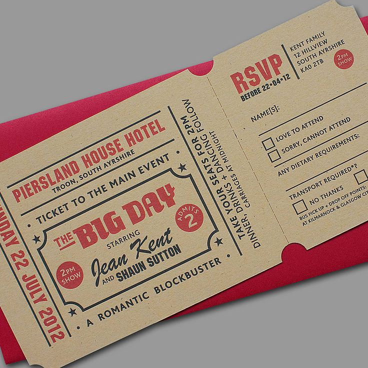 'Popcorn' Letterpress Wedding Invitation by Yield Ink but instead use Disney world tickets!! Love
