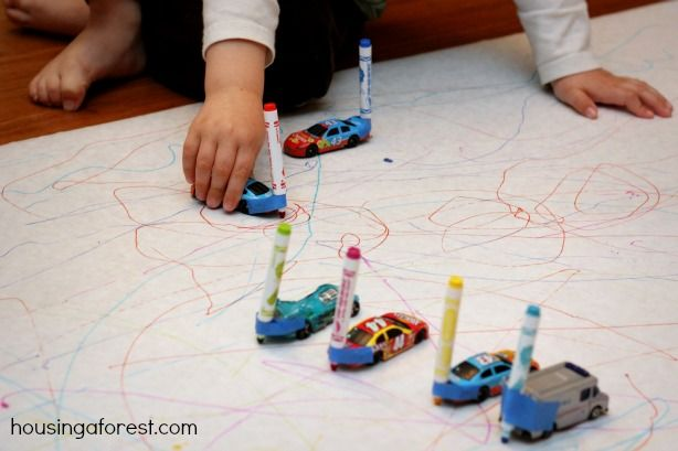 Drawing with Cars ~ Marker Cars is a fun activity that merges art and play. A great way to get the nursery boys mark making!