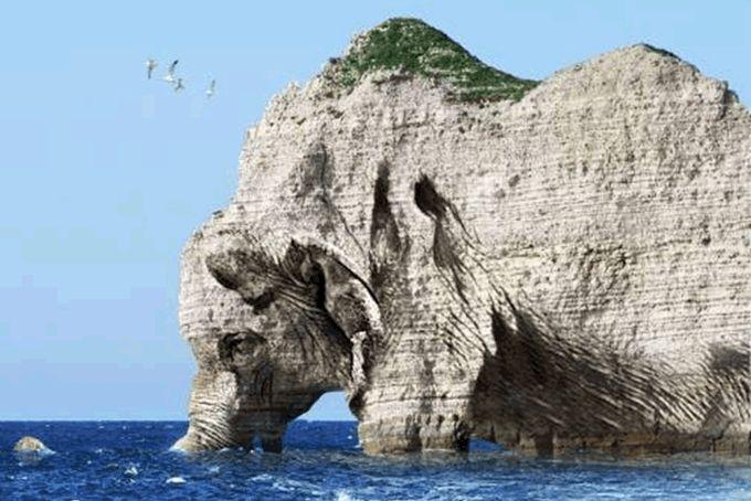 Increíble formación rocosa en el acantilado costero que asemeja un elefante