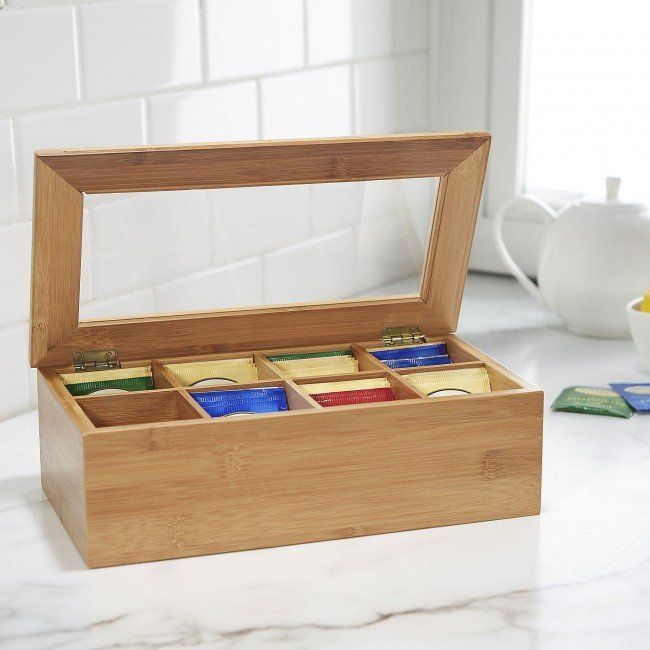 Store and display your tea in our Chi Bamboo Tea Box. The lightweight and durable bamboo construction with a large viewing window lets you see all of your delicious flavours of tea. Eight storage compartments help you organize your tea and see at a glance when it's time to restock your favourite tea bags!