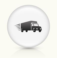 Delivery Trucks icon on white round vector button vector art illustration
