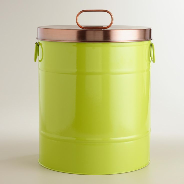 Save yourself the time and mess of pouring heavy food bags with our stylish green pet food storage tin. It includes an airtight lid to keep the kibble fresh. >> #WorldMarket Pet Lovers