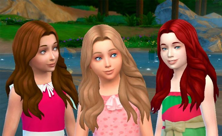 The Sims 4: My Stuff: Long Wavy Parted hairstyle for girls | base game hairs converted for female child