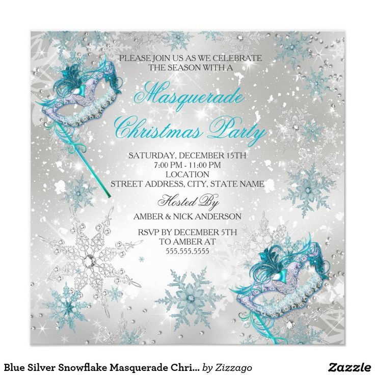 Blue Silver Snowflake Masquerade Christmas Party 2 Card