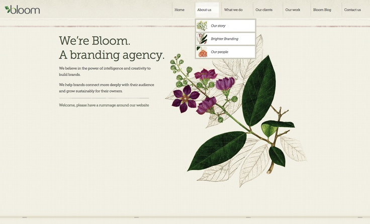 Bloom's website incorporates botanical illustration. Appropriately :)Design Inspiration, Webdesign Userinterface, Web Design, Css Webdesign, Agency Website, Bloom, Website Design, Website Inspiration, Designinspiration