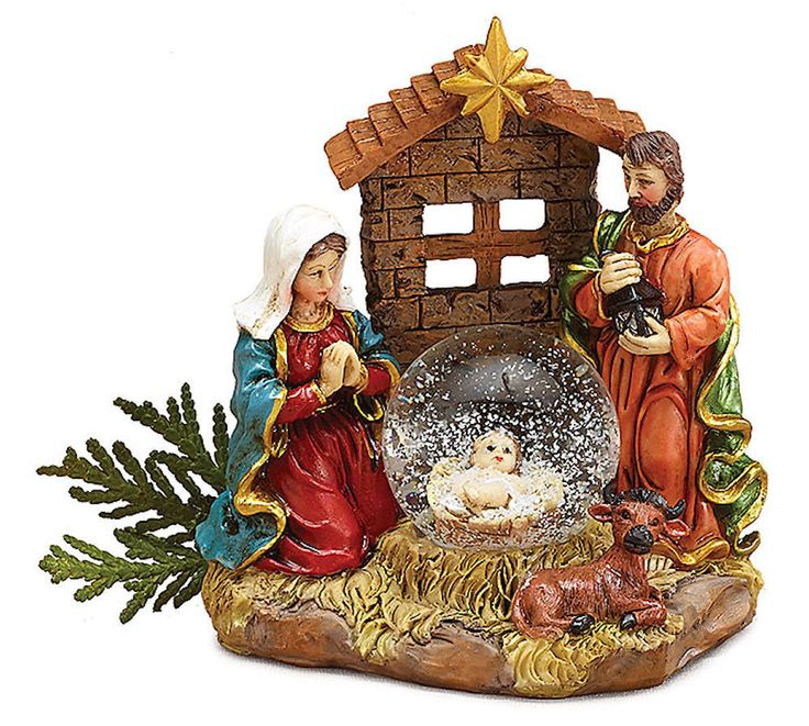 Holy Family Admires Jesus Nativity Religious Christmas: Nativity Christmas Snow Globe With Mary Joseph And Jesus