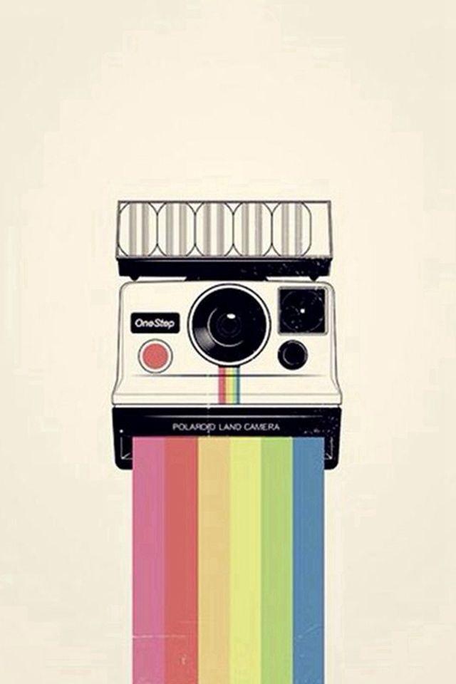 Polaroid Camera Colorful Rainbow Illustration #iPhone #4s #wallpaper