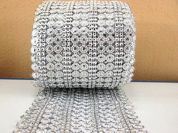 Silver Stud Rhinestone Bling  Mesh Trim- Hair Bows- wedding Decor-Shoe Decor-Embellishment