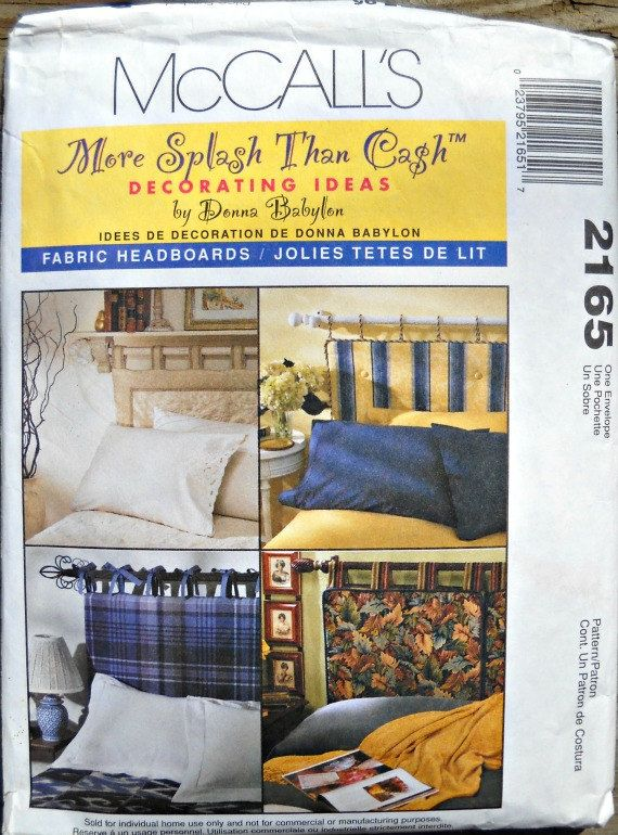 McCalls 2165 Fabric Headboards Pattern More by CurlicueCreations, $5.25