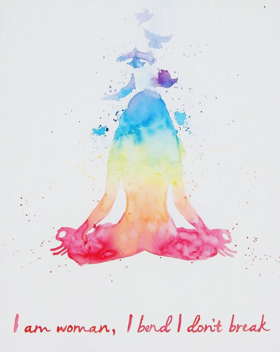 Original Watercolor  Large Meditation Yoga Pose by MyHappyHeartArt