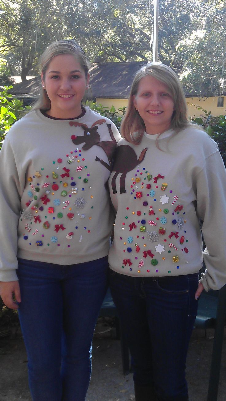 We can make twinsies christmas sweaters of dogs puking and pooping christmas ornaments!  Charming!