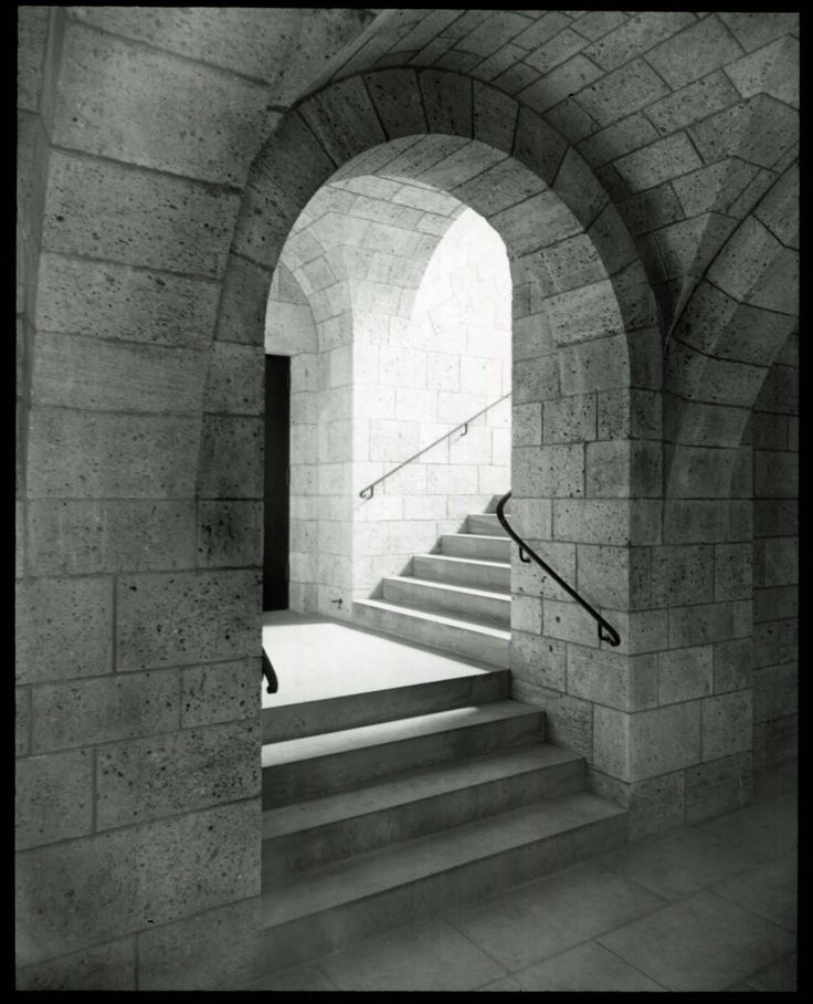 """""""View of stairs from lower lobby to main floor, July 1938(Cloisters)."""" 1938.MetropolitanMuseum of Art (New York, N.Y.). Metropolitan Museum of ArtImages. #cloister #stairs #arch #architecture"""