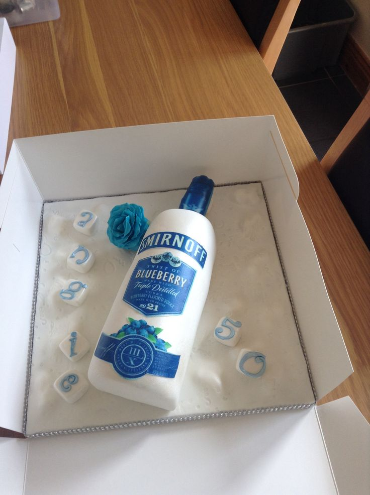 Blue label Smirnoff vodka cake.