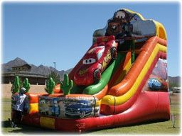 "So what can be better than a 24′ Double Inflatable Slide? How about a ""Cars"" Theme Double Inflatable Slide. http://partyprofessionals.com/az-attractions/slides/24-cars-double-slide/"