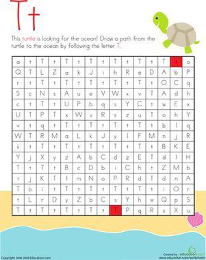 Kindergarten Mazes The Alphabet Worksheets: Letter Maze: T