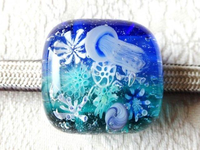 Jelly fish sash clip 《クラゲ》 とんぼ玉帯留め - 桂知子