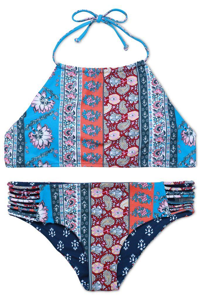 #FloralPattern #HighNeck Halter Bikini Set - Swimandtan