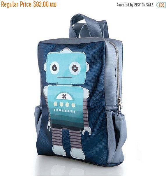 SALE Robot School Backpack Kids Backpack Blue by ...