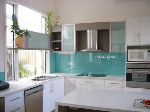 The Glass Guy - Light blue glass splashback with white kitchen