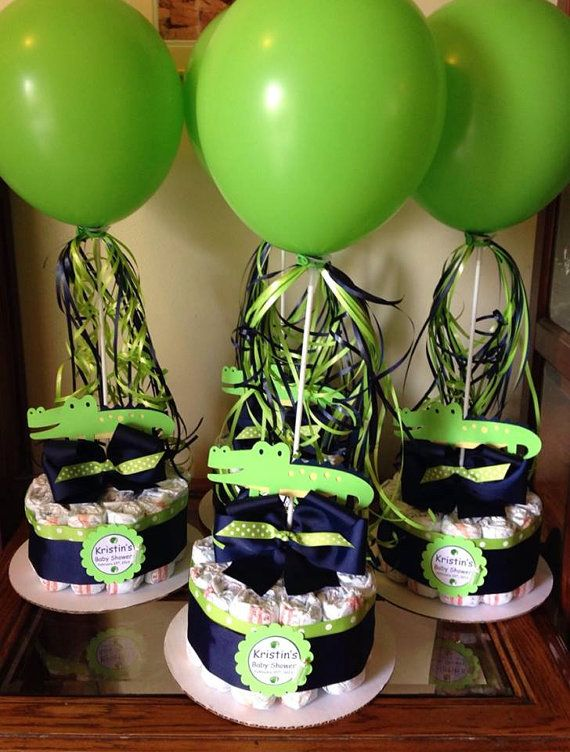 Alligator Baby Shower Diapers Centerpiece with Balloon Navy Blue/Lime Green on Etsy, $17.99