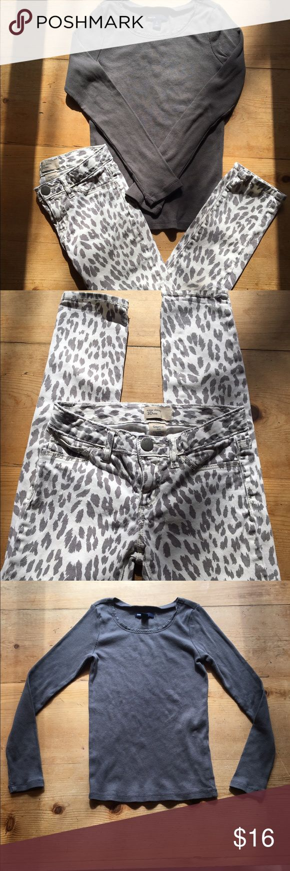 Gap kids outfit size 10 Long sleeve ribbed t-shirt and grey leopard print pants from the Gap.  Pants Size 10Slim top size 10 GAP Matching Sets