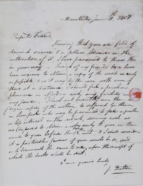 Letter and prospectus for Part 1 of New System of Chemical Philosophy to Dr. Bostock Manuscript June 11, 1808 by John Dalton