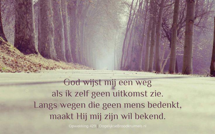 God wijst mij een weg als ik zelf geen uitkomst zie. Langs wegen die geen mens bedenkt, maakt Hij mij zijn wil bekend. Opwekking 429 #God, #Opwekking http://www.dagelijksebroodkruimels.nl/opwekking-429/