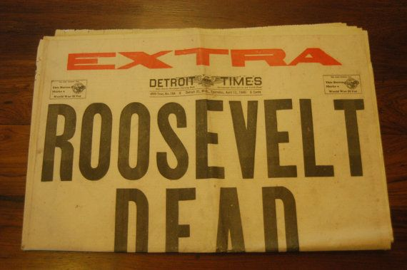 Vintage Newspaper Roosevelt Dead Extra Edition Newspaper Detroit Times April 12, 1945 United States President FDR with Red Color on Etsy, $24.00
