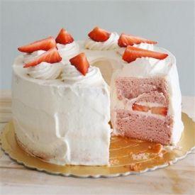 Strawberry Cloud Cake. Soft light airy strawberry cake with strawberry chantilly cream.