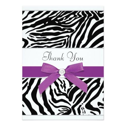 Purple Zebra Thank You Card