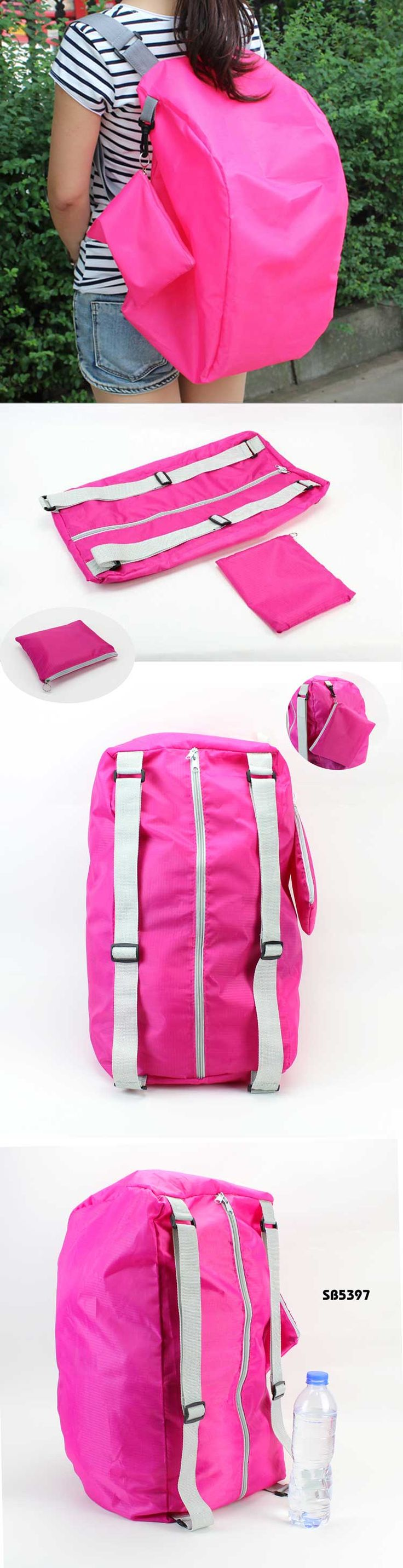 Multifunction foldable storage back pack  Description:   Bag size:54*27CM  Material:210D polyester +webbing shoulder straps Available color:green/blue/rose red/pink or customized color is welcome  logo:customized logo is ok  www.ideagroupuigm.com