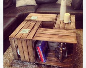 Handmade crate tv storage unit with scaffold board by JBWoodDesign