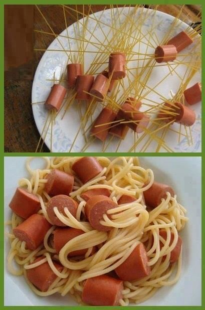 "i want my kids to think im magic. "" how does she get noodles to grow from hot dogs"""