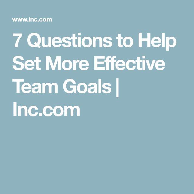 7 Questions to Help Set More Effective Team Goals | Inc.com