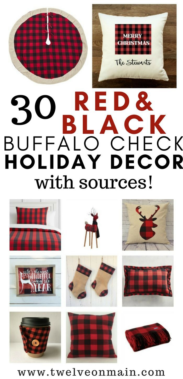 30 red and black buffalo plaid or buffalo check holiday decor!