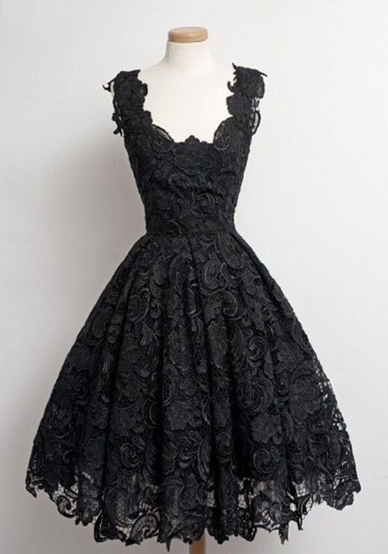 black lace dress with a retro feel