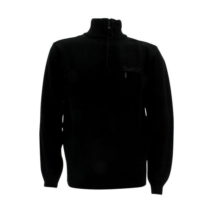Alberto Cardinali - Men's 1/4 Zip With Pocket Sweatshirt - Black