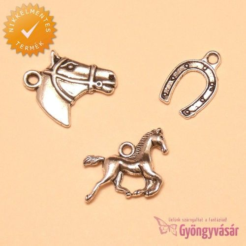 Ezüstszínű lovas csomag • Gyöngyvásár.hu