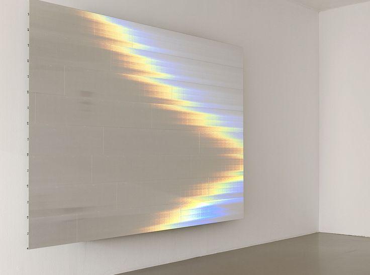 lafilleblanc:  Saâdane Afif Brume (la Falaise d'Etretat après l'orage, G.C., 1870), 2013 White holographic film on an aluminium structure. © Blaise Adilon