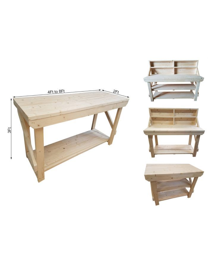 Garage Work Table Handmade 4ft Made Of Pressure Treated Timber 46 Piece Peg Kit INCLUDED 4FT and 6FT Wooden MDF Heavy Duty Workbench Double Shelf With Peg Board and Wheels With Castors