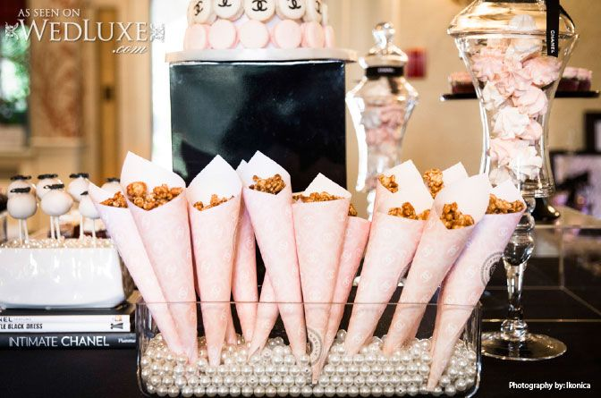 WedLuxe: #Chanel inspired bridal shower #popcorn