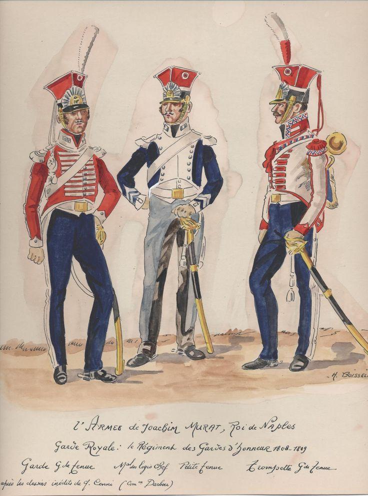 Naples; Garde Royale, Gardes d'Honneur, Trooper, Grande Tenue, Marechal des Logis, Petite Tenue & Trumpeter, Grande Tenue, 1808-09 by H.Boisselier.