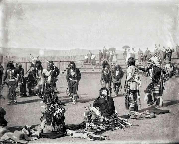 "Original caption ~ ""War Dance Ceremony"", Nez Perce 1900."