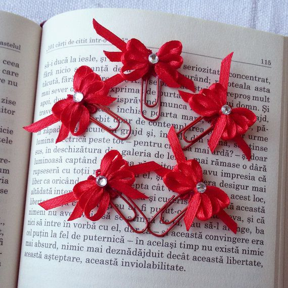5 Satin bows bookmarks red planner clips by Rocreanique on Etsy