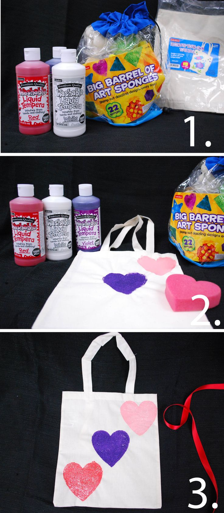 Kids can make this lovable tote covered in hearts for their teacher or their best friends. What you need: Lakeshore's Decorate-Your-Own Tote Bag, Lakeshore's Big Barrel of Art Sponges and paint!