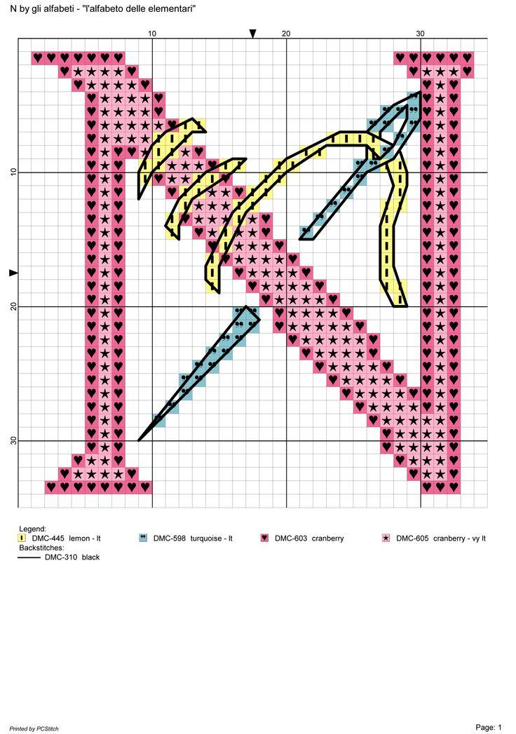 alfabeto delle elementari: N