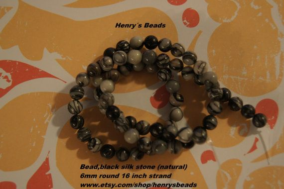 Bead black silk stone natural 6 mm round by Henrysbeads on Etsy, $3.75
