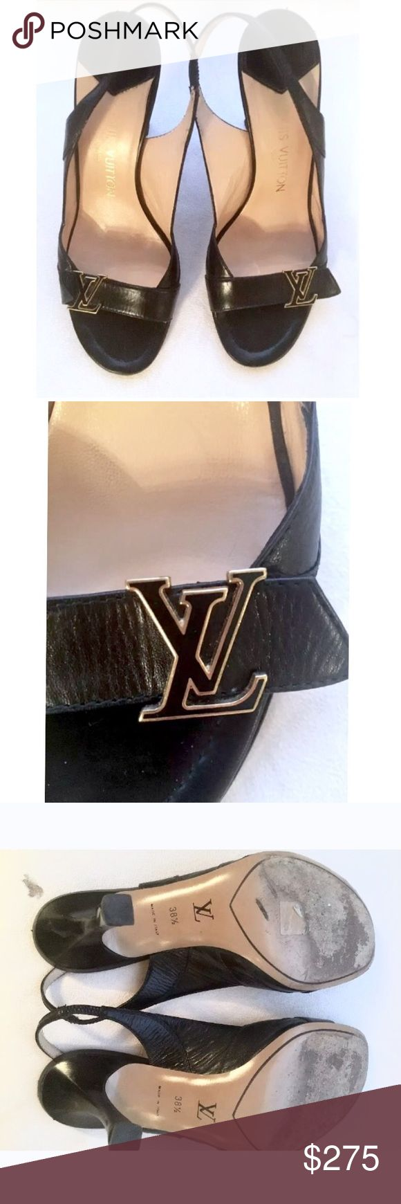 LOUIS VUITTON leather slingebacks  LV logo Sz8.5 Stylish LOUIS VUITTONS slingebacks with LV logo on front strap. Only wear is on the bottom soles and  some of the lettering has worn off. Great buy! Louis Vuitton Shoes Heels