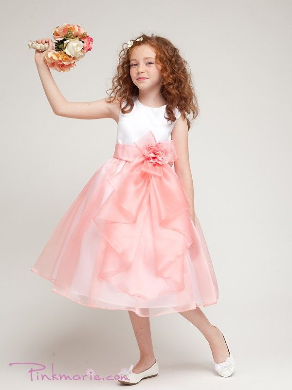 Coral Satin Bodice with Organza Ruffle Skirt Girl Dress ...