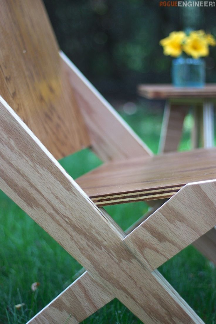 DIY Woodworking Ideas 1 Sheet of Plywood = 2 Chairs + 1 Side Table || Free Plans | rogueengineer.com #...